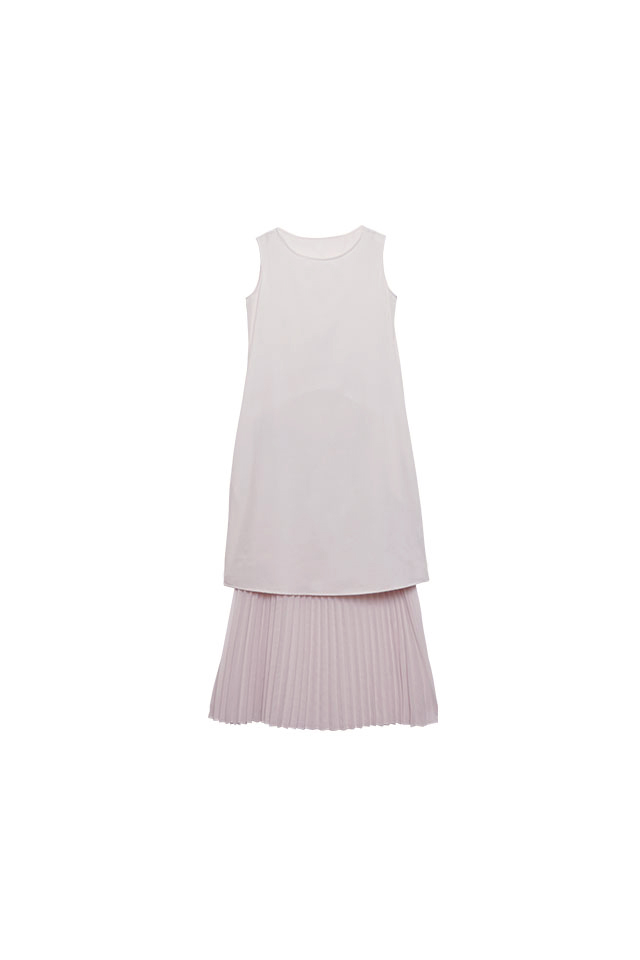 Pleated Lawn Champagne  Dress