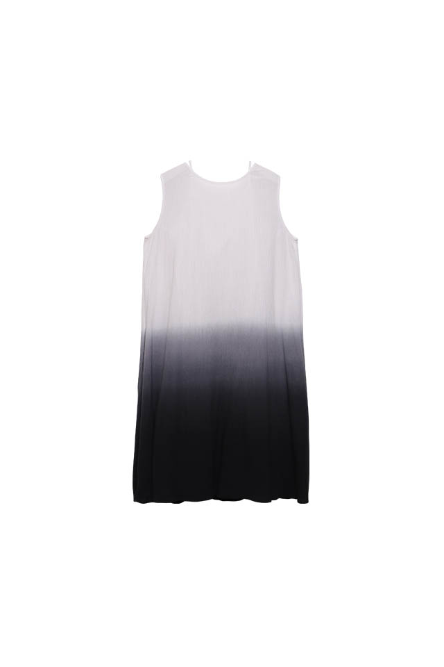 Two way layering dip-dyed wrinkle Black  Dress