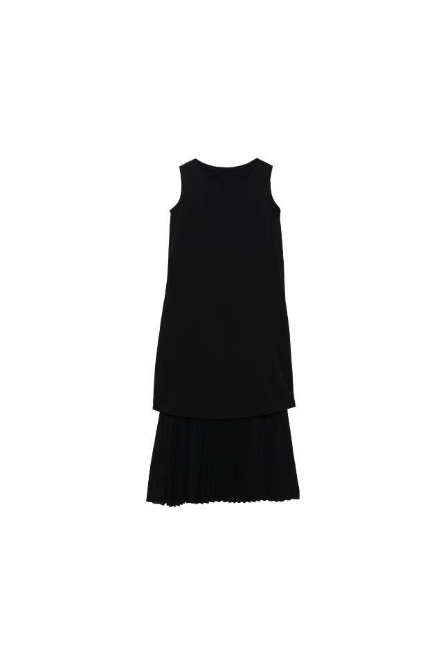 Pleated Lawn Black  Dress