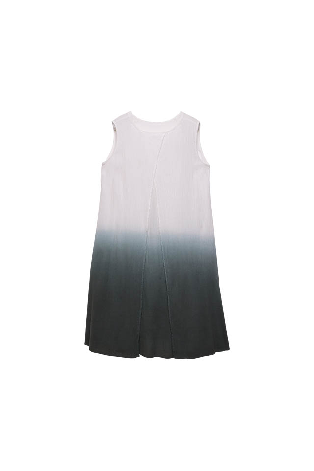 Two way layering dip-dyed wrinkle Eggshell  Dress