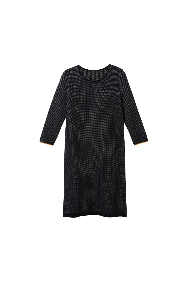Cotton Two-Tone Fancy Stitch 3/4 Sleeve Knitted Black Dress