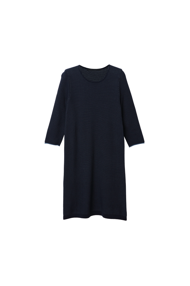 Cotton Two-Tone Fancy Stitch 3/4 Sleeve Knitted Eclipse Dress