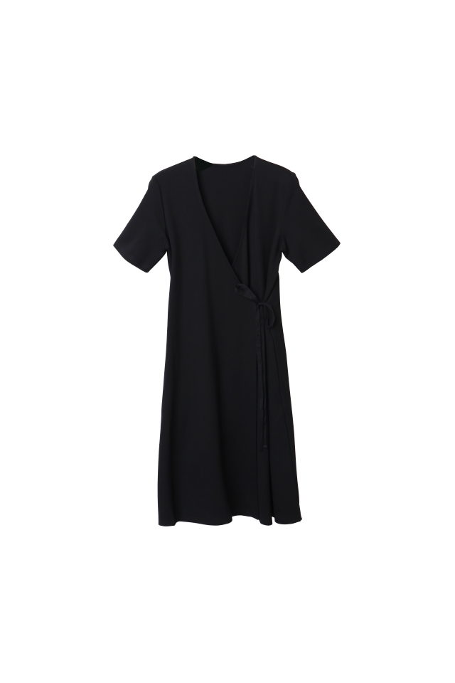 Double Knit Wrap Black Dress