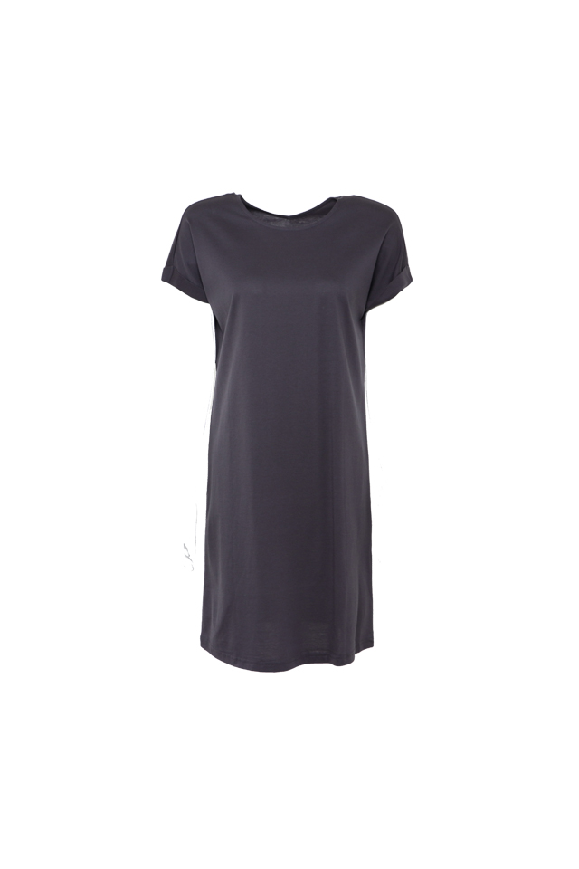 V Back Two Way Cap Sleeve Dark Grey Dress