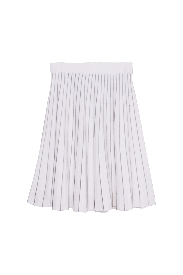 Lurex Knitted White Skirt