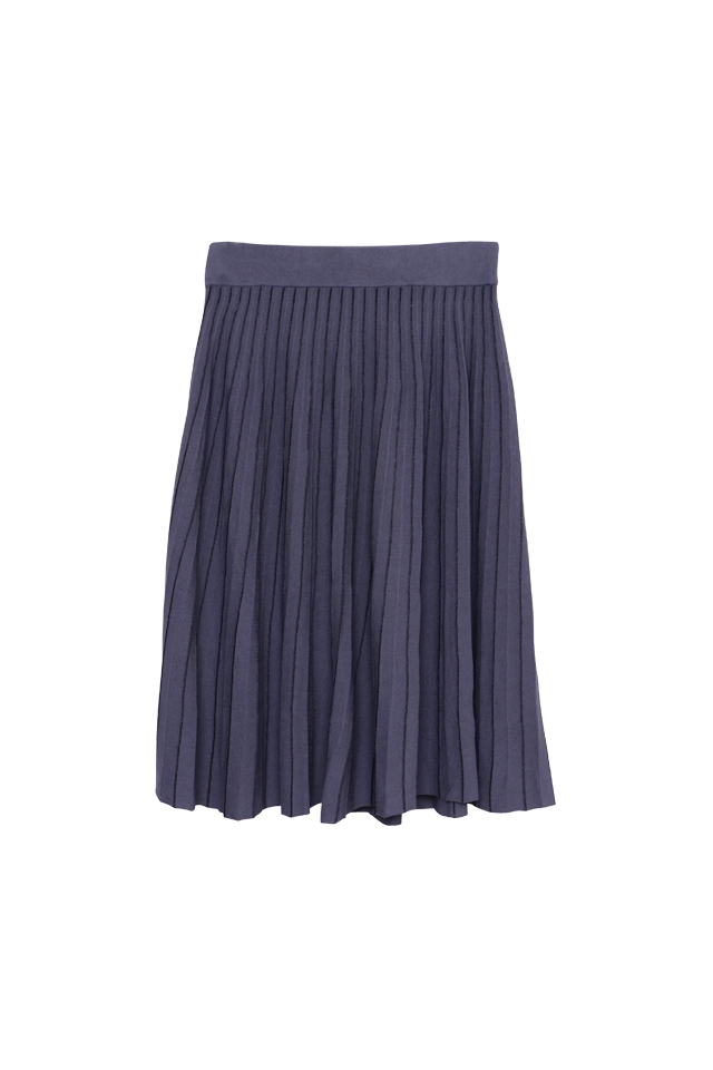 Lurex Knitted Dusty Blue Skirt