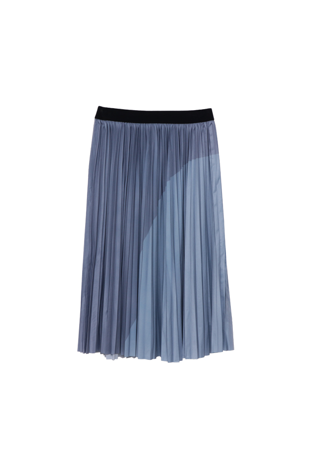 Geometric Print Smoke Blue Pleat Skirt