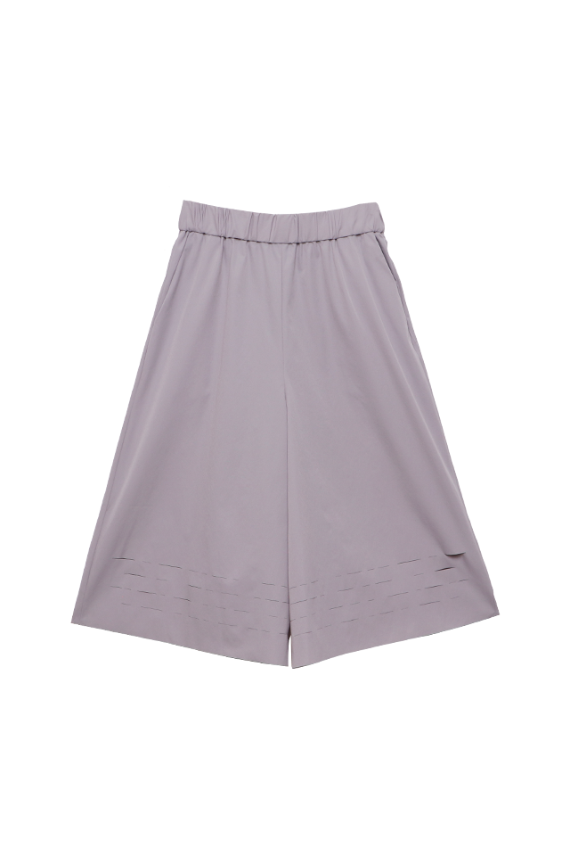 Laser Cut Details Light Gray Culottes Bottom