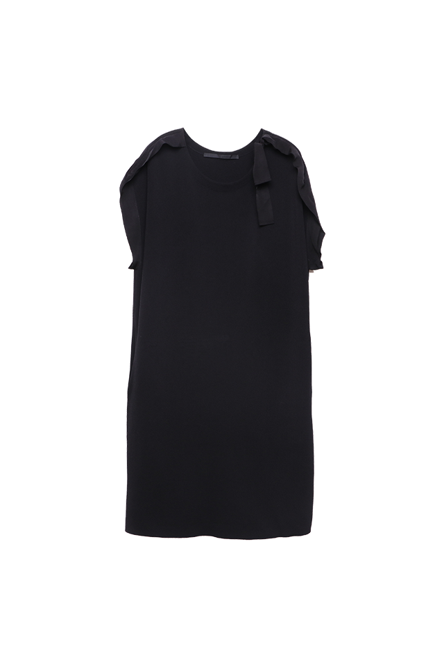 Batwing Black Knitted Dress