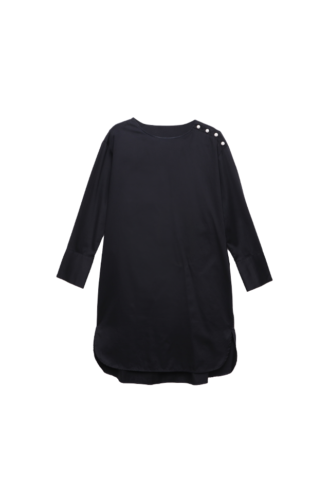 Pearl buttons Black Shirt Dress