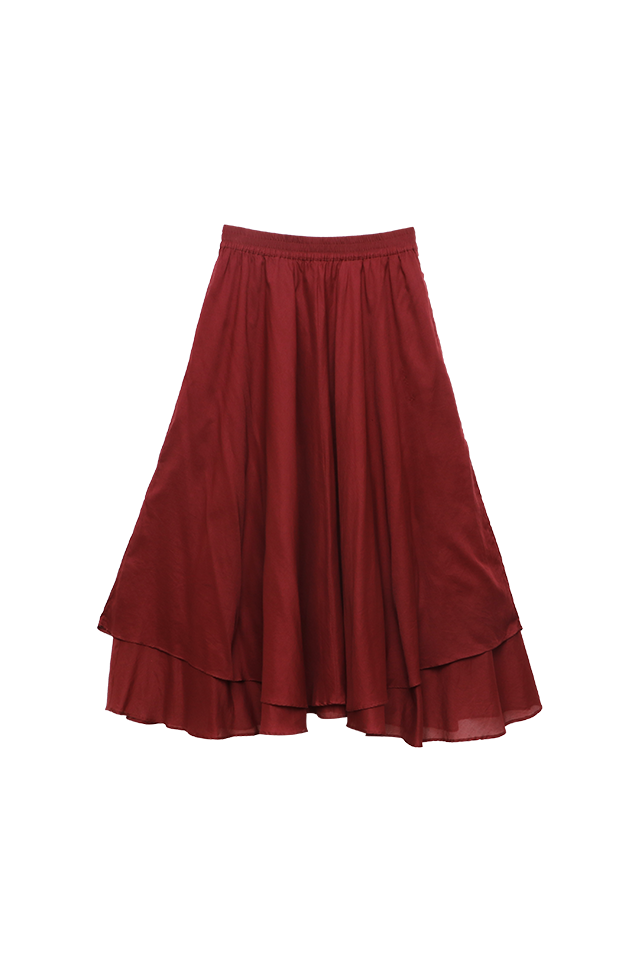 Layered Brick Flare Skirt